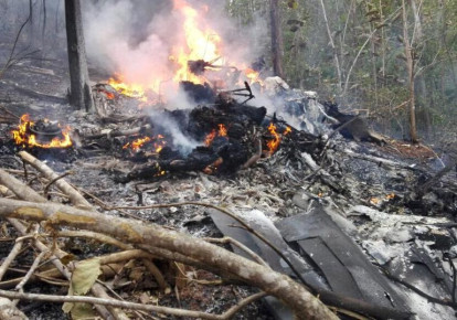 Scene from a plane crash in Costa Rica that killed 10 US citizens, December 2017 (photo credit: MINISTERIO DE SEGURIDAD PUBLICA DE COSTA RICA VIA REUTERS)