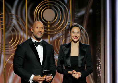 Dwayne Johnson, Gal Gadot presenters at the 75th Golden Globe Awards in Beverly Hills, California. (photo credit: REUTERS)