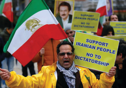Iranian protesters in the streets of Tehran (photo credit: REUTERS)