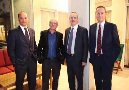FROM LEFT: JONATHAN SORRELL, Man Group president; David Grossman, prizewinning author; Lord Livingston of Parkhead, Man Group chairman; and British Ambassador David Quarrey. (Aya Yekutiel) (photo credit: AYA YEKUTIEL HAKTIN)