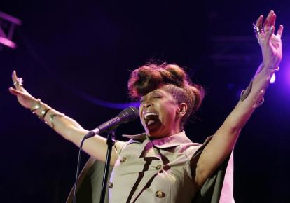 U.S. singer Erykah Badu performs during the Nice Jazz Festival July 8, 2012. (photo credit: REUTERS/ERIC GAILLARD)