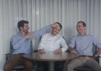 Michael Braginsky (left), Elad Walach (middle), and Guy Reiner (right) have launched a startup that refines and quickens how radiologists check your X-rays, transforming the diagnosis you get. (photo credit: Courtesy)