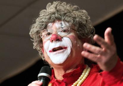 Well-known clown Barry Lubin (photo credit: DEREK R. HENKLE / AFP)