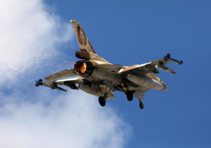 """An Israeli F16 fighter jet takes off during a joint international aerial training exercise hosted by Israel and dubbed """"Blue Flag 2017"""" at Ovda military air base in southern Israel November 8, 2017. Picture taken November 8, 2017. (REUTERS/Amir Cohen) (photo credit: REUTERS/AMIR COHEN)"""
