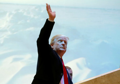 US President Donald Trump arrives at the World Economic Forum annual meeting in Davos (photo credit: REUTERS/CARLOS BARRIA)