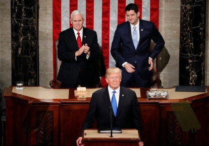 US President Donald Trump delivers his State of the Union address to a joint session of the US Congress on Capitol Hill in Washington, US January 30, 2018 (photo credit: REUTERS/JOSHUA ROBERTS)