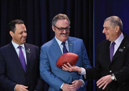 MINNESOTA VIKINGS owners Mark (left), Zygi (center) and Leonard Wilf. (photo credit: KIRBY LEE-USA TODAY SPORTS)