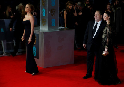 Uma Thurman (L), Harvey Weinstein and Georgina Chapman arrive at the British Academy of Film and Arts (BAFTA) awards ceremony at the Royal Opera House in London, February 16, 2014. (photo credit: REUTERS/LUKE MACGREGOR)