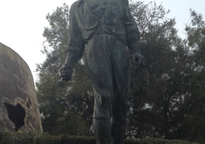 The large statue of Anielewicz at Yad Mordechai (photo credit: SUZANNE EDINGER)