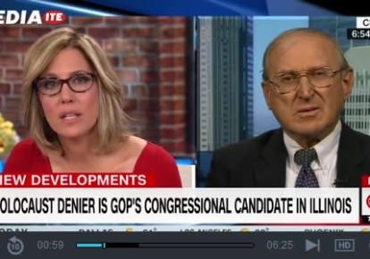 CNN host Alisyn Camerota interviews Neo-Nazi congressional candidate Arthur Jones (photo credit: screenshot)