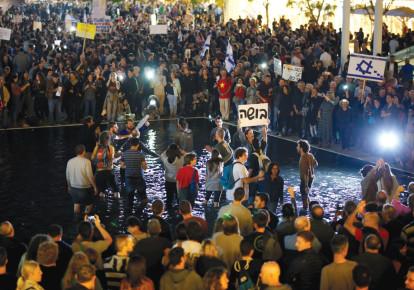 ANTI-CORRUPTION PROTESTERS in Tel Aviv in December. (photo credit: REUTERS)