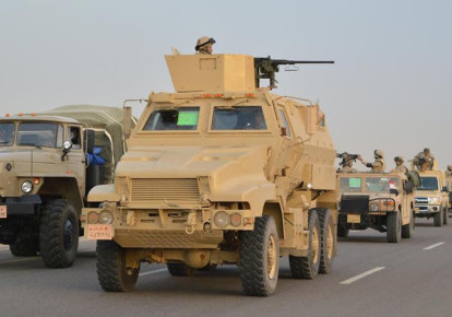 Egyptian Army's Armoured Vehicles are seen on a highway to North Sinai during a launch of a major assault against militants (photo credit: MINISTRY OF DEFENCE/HANDOUT VIA REUTERS)
