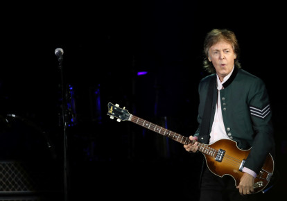 "British musician Paul McCartney performs during the ""One on One"" tour concert in Porto Alegre, Brazil (photo credit: REUTERS)"