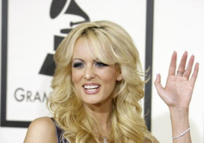 Adult film star Stormy Daniels arrives at the 50th Grammy Awards in Los Angeles February 10, 2008. REUTERS/Danny Moloshok (photo credit: DANNY MOLOSHOK/REUTERS)
