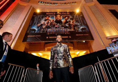 "Cast member Chadwick Boseman poses at the premiere of ""Black Panther"" in Los Angeles, California, US, January 29, 2018. (photo credit: MARIO ANZUONI/REUTERS)"