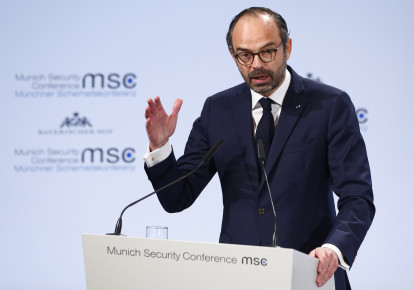 French Prime Minister Philippe talks at the Munich Security Conference in Munich. (photo credit: REUTERS/MICHAELA REHLE)