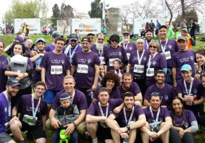American rabbis with Kav L'Noar running the Jerusalem marathon (photo credit: DANA LAURA LAVIE)