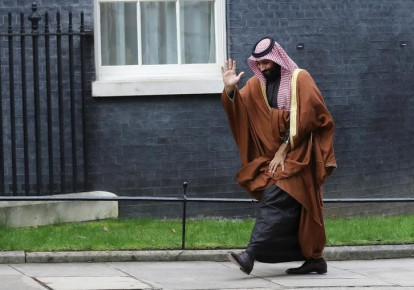 Crown Prince of Saudi Arabia Mohammad bin Salman arrives to meet Britain's Prime Minister Theresa May in Downing Street in London, March 7, 2018 (photo credit: SIMON DAWSON/ REUTERS)