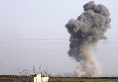 SMOKE RISES from artillery strikes near Afrin. (photo credit: REUTERS)