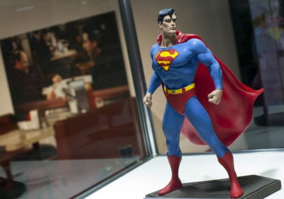 """A Superman figure from the original set of the """"Seinfeld"""" television comedy series is seen on display at Hulu's """"Seinfeld: The Apartment"""", a temporary exhibit on West 14th street in the Manhattan borough of New York City, June 24, 2015. (photo credit: MIKE SEGAR / REUTERS)"""