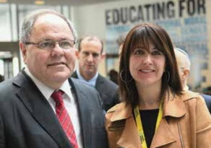 Doreet Freedman and Dani Dayan, Israel's Consul General in New York at the NBN Mega Event.  (photo credit: SHAHAR AZRAN)