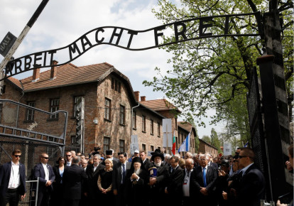 Youth attend the annual March of the Living at the former Nazi concentration camp of Auschwitz on May 2, 2019 (photo credit: KASPER PEMPEL/REUTERS)