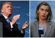 A compilation photo of Federica Mogherini and Donald Trump
