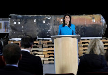 US Ambassador to the United Nations Nikki Haley in front of remains of Iranian