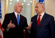 US Vice President Mike Pence speaks with Israeli Prime Minister Benjamin Netanyahu in Jersualem