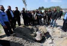 The site of an explosion that targeted the convoy of Palestinian Prime Minister Rami Hamdallah