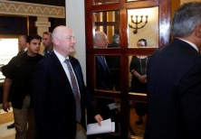 Jason Greenblatt (C), U.S. President Donald Trump's Middle East envoy, enters a meeting in Jerusalem