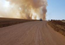 Smoke is seen near the Gaza border.