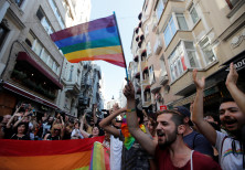 Members of LGBT community take part in a Gay Pride parade in central Istanbul, Turkey, July 1, 2018