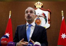 Jordanian Foreign Minister Ayman Safadi addresses the press in Amman, Jordan, July 2, 2018.