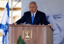 Israeli Prime Minister Benjamin Netanyahu speaks during an annual state memorial ceremony for Israel