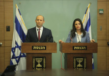 Naftali Bennett and Ayelet Shaked address the media, November 19, 2018