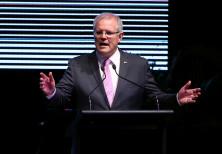 Australia's Prime Minister Scott Morrison speaks during the INPEX Gala Dinner in Darwin, Australia N