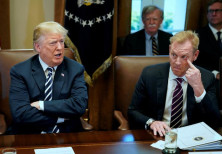 U.S. President Donald Trump, flanked by Deputy Secretary of Defense Patrick Shanahan.