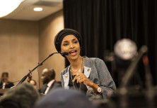 Ilhan Omar speaks at an election night results party in Minneapolis, Nov. 6, 2018.