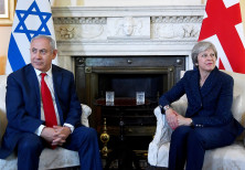Britain's Prime Minister Theresa May welcomes Israel's Prime Minister Benjamin Netanyahu to Downing