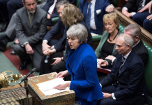 BRITISH PRIME MINISTER Theresa May speaks during a confidence vote debate after Parliament rejected