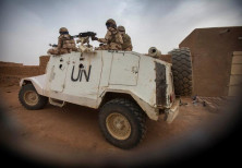 Members of MINUSMA Chadian contingent patrol in Kidal, Mali