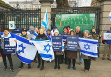 Pro-Israel demonstration by Christians and Jews in front of the Irish parliament.