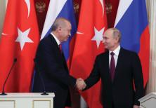 RUSSIAN PRESIDENT Vladimir Putin meets with Turkey's President Recep Tayyip Erdogan.