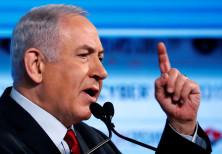 Prime Minister Benjamin Netanyahu gestures as he speaks at the Cybertech 2019 conference in Tel Aviv
