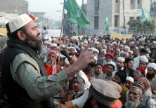 Supporters of the banned Islamic militant group Jaish-e-Mohammed stage a rally in Multan for the rel