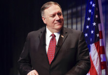 U.S. Secretary of State Pompeo listens during the news conference in Reykjavik