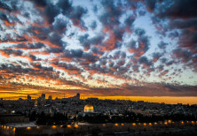The Dome of the Rock mosque is seen during the sunset at the al-Aqsa mosque compound