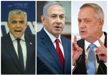 Yair Lapid, Prime Minister Benjamin Netanyahu, and Benny Gantz