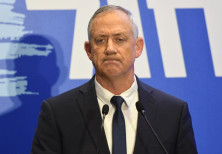 Leader of Blue and White party Benny Gantz speaks on February 28, 2019